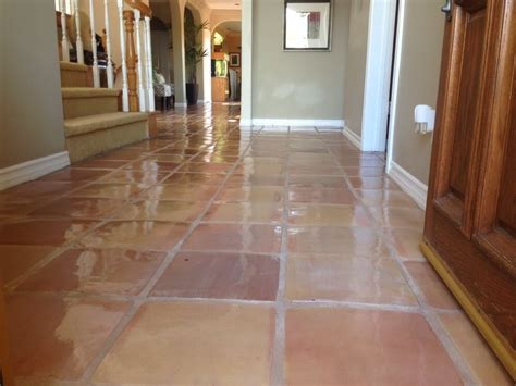 saltillo tile cleaned sealed with a glossy