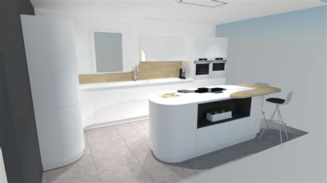 cuisine moderne blanche et bois une cuisine futuriste blanche à découvrir absolument