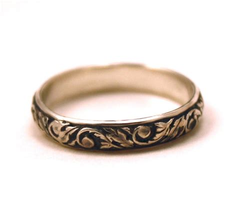 victorian wedding band oxidized scroll sterling silver