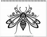 Bee Coloring Pages Adults Tattoo Queen Bees Adult Outline Animals Tattoos sketch template