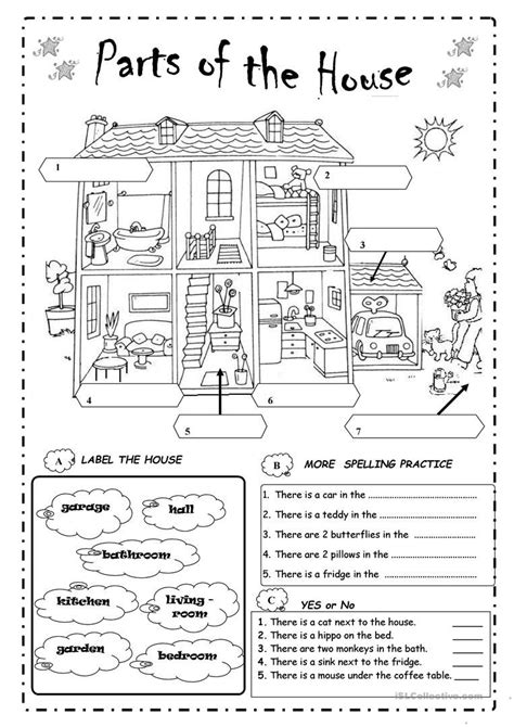 Parts Of The House Worksheet  Free Esl Printable Worksheets Made By Teachers Classroom