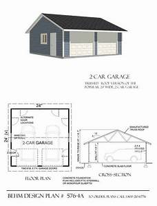 2 Car Basic Garage Plan With One Story 576-4a