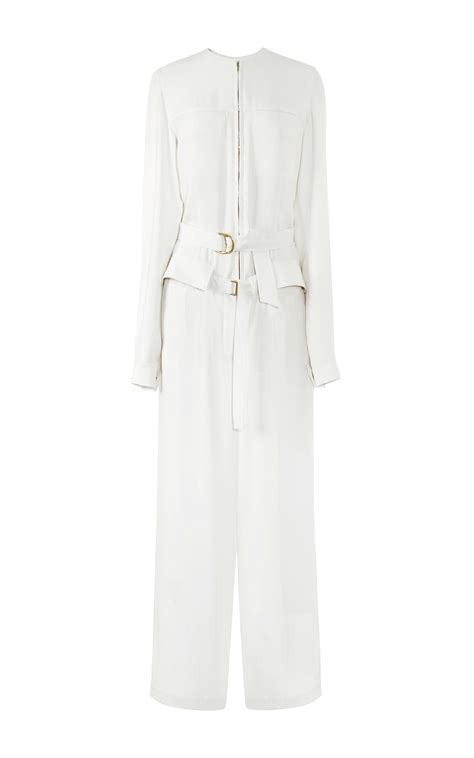 white sleeve jumpsuit calvin klein ivory silk crepe belted sleeve