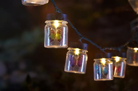 essential garden 10ct string lights butterflies in jars