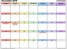November 2018 Calendars for Word, Excel & PDF