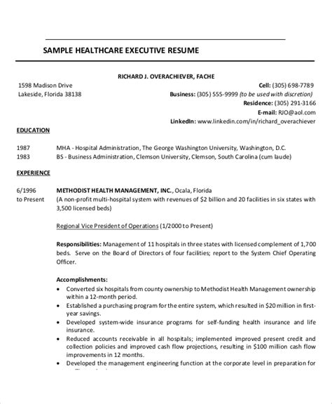 Exle Of Healthcare Resume by Sle Healthcare Resume 7 Exles In Word Pdf