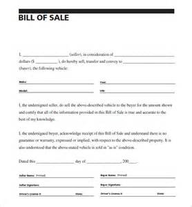 Vehicle Bill of Sale Example