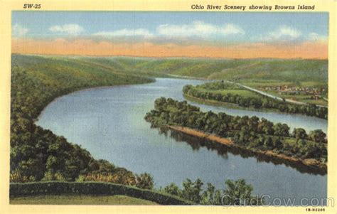Ohio River Scenery Showing Browns Island Weirton, Wv
