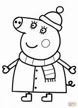 Coloring Pig Mummy Pages Winter Suit Drawing Paper Printable Crafts sketch template