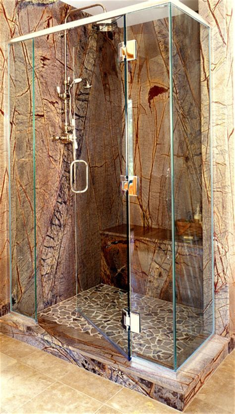 Rainforest Brown Slab Shower   Traditional   Bathroom