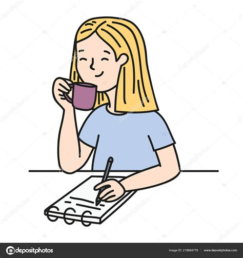 Mujer Escribiendo Cuaderno Tomar Café Lindo Dibujo
