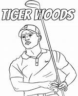 Woods Tiger Coloring Golfer Pages Printable Print Athletes sketch template