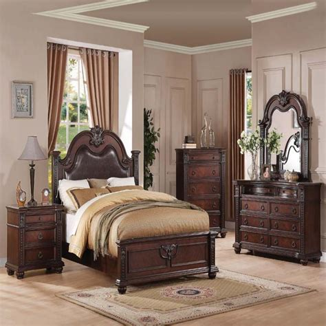 Daruka Cherry Formal Traditional Antique Queen Bed 4pcs