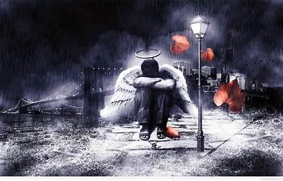 Sad Wallpapers Rain Angel Amazing