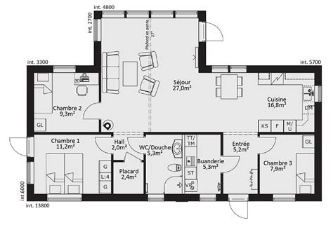 prix maison plain pied 3 chambres cuisine maison plain pied ossature bois prix plan maison