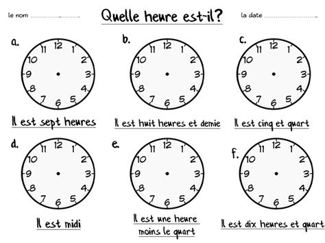 french fill in the clocks worksheet by emmy91 teaching