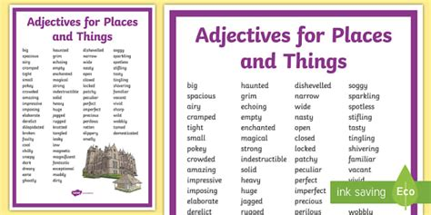 Adjectives For Places And Things Display Poster  Adjectives, Places, Things