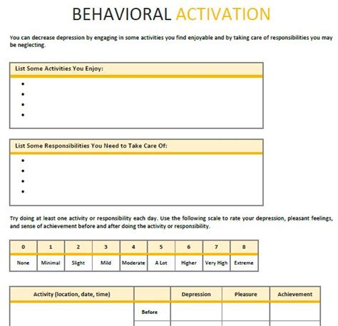 Behavioralactivation Psychotherapy Worksheet Template  Therapy  Pinterest Studentcentered