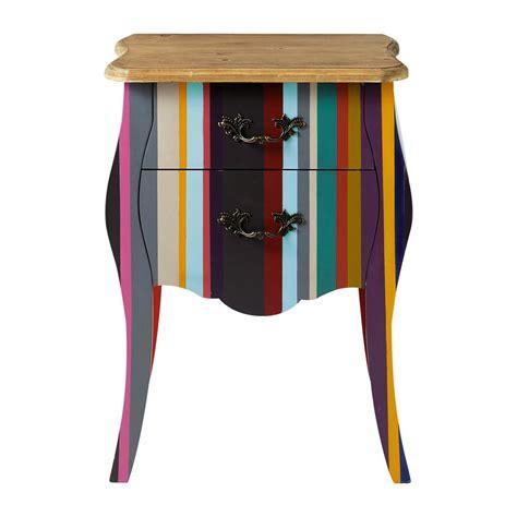 Maison Du Monde Comodini Comodino Multicolore A Righe In Legno Di Paulonia L 45 Cm