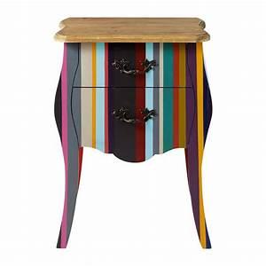 Table De Nuit Haute : table de chevet rayures en bois de paulownia multicolore l 45 cm n on maisons du monde ~ Preciouscoupons.com Idées de Décoration