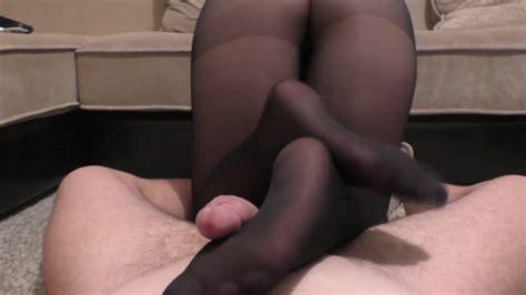 Teen Big Ass Footjob And Handjob In Black Nylon Pantyhose