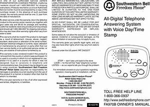 Southwestern Bell Freedom Phone Fa970b Users Manual Fa970s