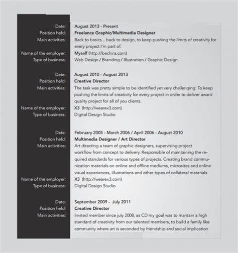 sle freelance resume template 8 free documents