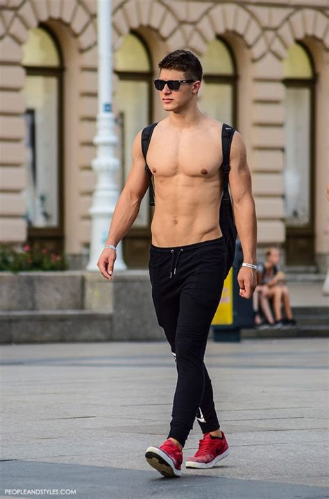 men s summer street style joggers and red sneakers