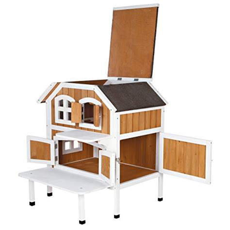 trixie pet products 2 story cat cottage brown white
