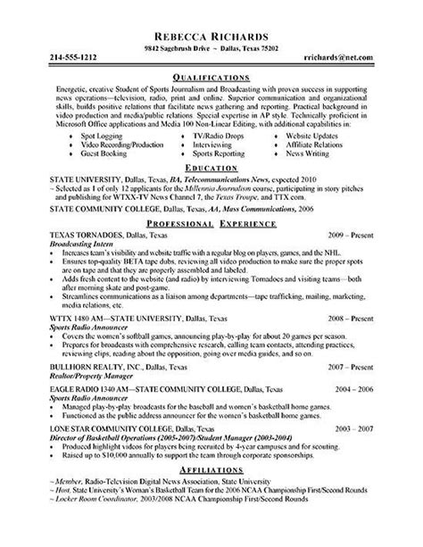 Resume Sles For College Students Seeking Internships by Intern Resume Exle Resume Exles Resume And Resume