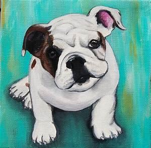 English Bulldog Puppy Painting by Lauren Hammack