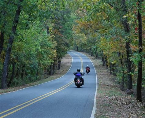 Scenic Motorcycle Rides Through The Ozark Hills. On The