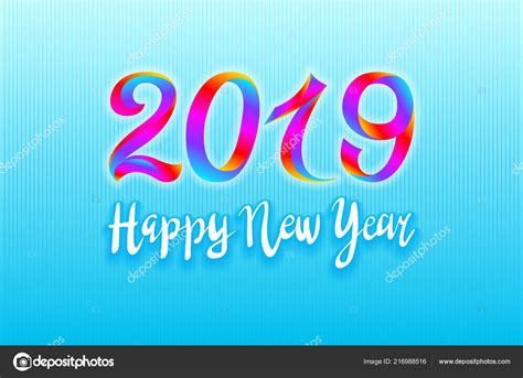 2019 Rainbow Happy New Year Vector Card Background Bright