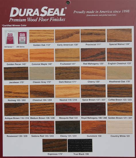 DuraSeal Stain Chart ? Leese Flooring Supplies, Inc.