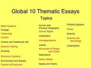 Global 10 Thematic Essays - ppt download
