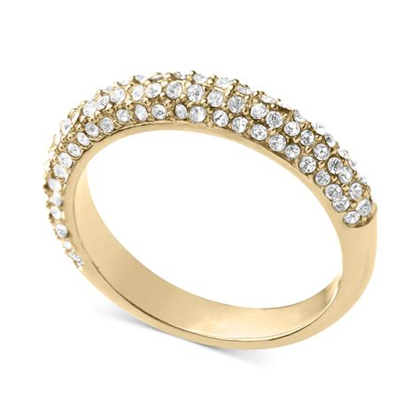 Michael Kors Goldtone Crystal Band Ring in Gold (No Color