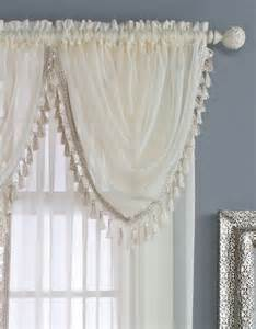 sheer waterfall valance with tassels renaissance home fashion