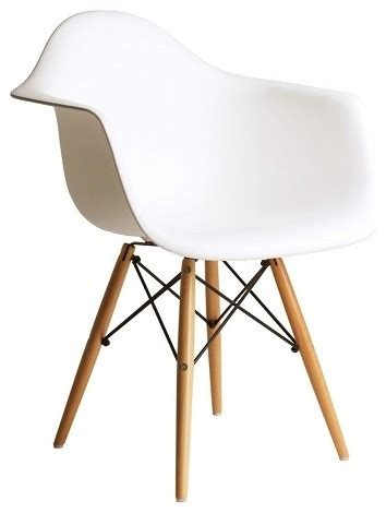 daw white mid century modern plastic dining armchair with