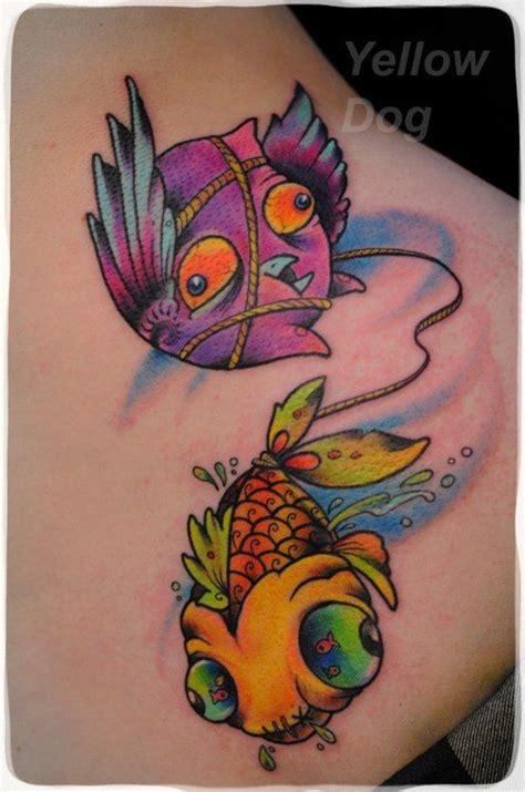 cute cartoon bird  fish tattoo
