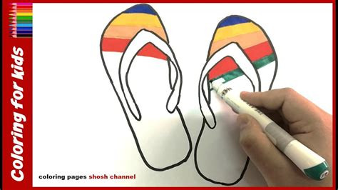 How To Draw And Color Beach Flip Flops Coloring Pages
