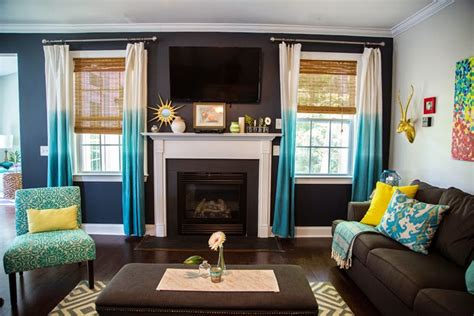 brown and aqua living room decor our current obsession turquoise curtains