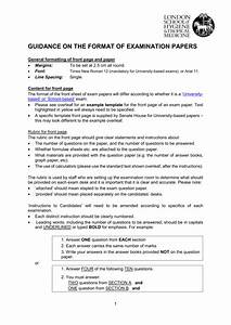 Guidance On The Format Of Examination Papers