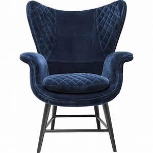 Fauteuil retro en velours bleu tudor kare design for Fauteuil design velours