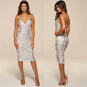 Honor Gold Luxe Gia Silver Sequin Backless Midi Evening ...