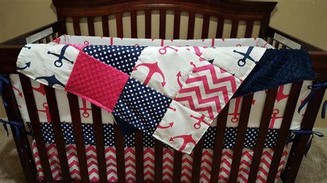 Nautical Baby Girl Crib Bedding Pink Anchors Navy Dot Pink