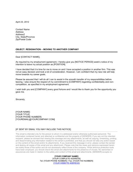 Resignation Letter Moving to Another Company Template – Word & PDF | By Business-in-a-Box