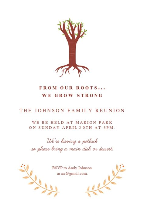 roots family reunion invitation template