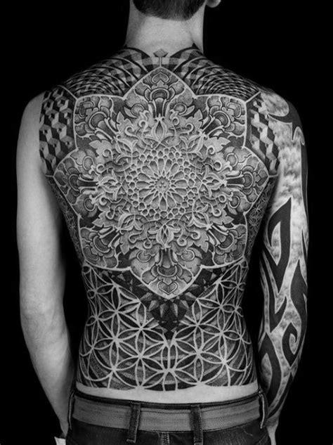 fractal tattoo designs  men repeating geometry ink