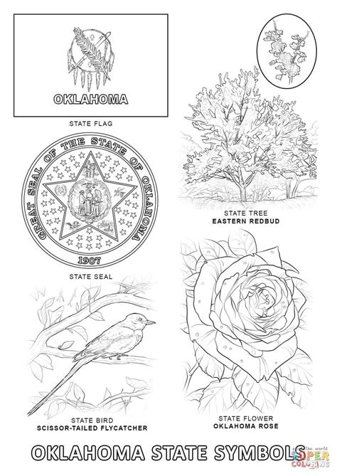 Oklahoma State Symbols coloring page | Flag coloring pages, Michigan crafts, Tree coloring page