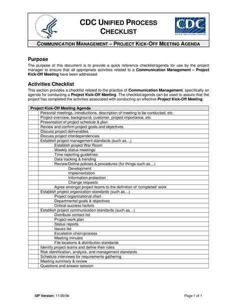 project kick  meeting agenda checklist templates